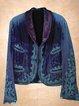 Plus Size Long Sleeve V Neck Velvet Outerwear