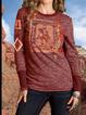 Blue Tribal Vintage Shirts Tops