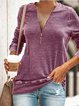 Casual Daily Zipper T-shirt Plus Size