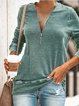 Summer Casual Daily Zipper V neck Plus Size T-shirt&Blouse