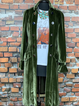 Olive Green Velvet Shirt Collar Vintage Plus Size Outerwear