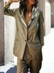 Gray Lapel Casual Paneled Outerwear