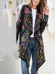 Black Floral Outdoor Shawl Collar Outerwear