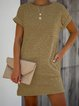Solid Cotton-Blend Casual Dresses