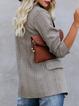 Khaki Lapel Casual Plaid Paneled Outerwear