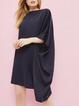 Crew Neck Black Women Dresses Cotton-Blend Plain Dresses