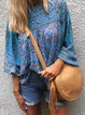 Plus Size Long Sleeve Boho Floral-Print Casual Tops
