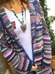 Coat Multicolor Tribal Long Sleeve Sweater Knitted Shift