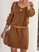 Knitted Long Sleeve Solid Dresses