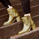 Block Heel Artificial Leather Tassel Knot Boots Vintage Plus Size Womens Boots