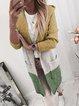 Long Sleeve Hoodie Color-Block Knitted Cardigans