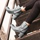 Womens Round Toe Slide Chunky Heel Pu Winter Casual Ankle Boots