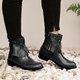 Womens Round Toe Casual Pu Zipper Chunky Heel Tassel Ankle Boots