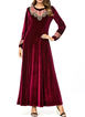 Plus Size Embroidery Velvet Women Maxi Dresses
