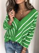 Casual Long Sleeve V Neck Plus Size Sweater