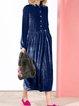 Velvet Solid Long Sleeve Buttoned Dresses
