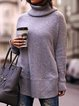 Turtleneck Long Sleeve Knitted Sweaters Plus Size Pullovers