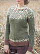 Knitted Geometric Crew Neck Long Sleeve Sweater