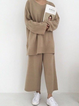 Solid Knitted Crew Neck Casual Suits