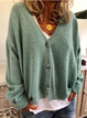 Winter Knitted Wool Blend Long Sleeve Sweater V-neck Button Coat