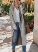 Gray Plain Casual Outerwear