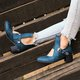 Women Winter Date Round Toe Low Heel Button Boots