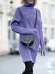 Turtleneck Gray Women Dresses Daily Casual Cotton-Blend Sweater Dresses