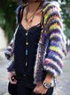 Plus Size Muticolor Stripes Women Knitted Cardigans