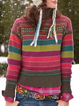 Long Sleeve Turtleneck Striped Sweater