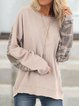 Khaki Simple & Basic Long Sleeve Shirts & Tops