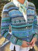 Vintage Tribal Long Sleeve Knitted Sweater Coats Printed Cardigan