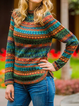 Green Round Neck Long Sleeve Sweater