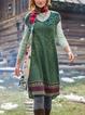 V Neck Green Women Casual Dresses