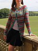 Red Casual Paneled Striped Outerwear
