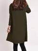 V neck  Shift Women Daily Cotton Long Sleeve Casual Dress