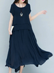 Women Short Sleeve Cotton Paneled Solid Elegant Dress