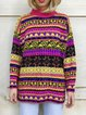Plus Size Boho Sweater Stand Collar Knitted Tops