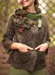 Coffee Cotton-Blend Long Sleeve Outerwear