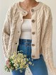 Plus Size Plain Long Sleeve Casual Outerwear