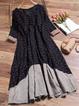 Vintage Floral Printed V-neck Buttoned Half Sleeve Dress