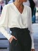 Casual Plain Paneled V Neck Shirts & Tops