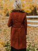 Red Cotton-Blend Shawl Collar Casual Long Sleeve Outerwear