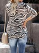 Black Knitted Color-Block Casual Long Sleeve plus size Sweater