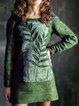 Color-block Patchwork Cotton-Blend Long Sleeve Dresses