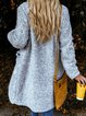 Gray Plain Casual Outerwear
