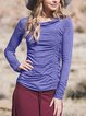 Casual Cotton-Blend Cowl Neck Shirts & Tops