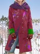 Cotton-Blend Floral Casual Hoodie Outerwear