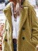 Shawl Collar Buttoned Long Sleeve Wool Blend Outerwear