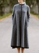 Grey Long Sleeve Cotton-Blend Buttoned plus size Outerwear