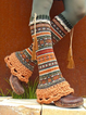 Orange Casual Geometric Cotton-Blend Paneled Leg Warmer